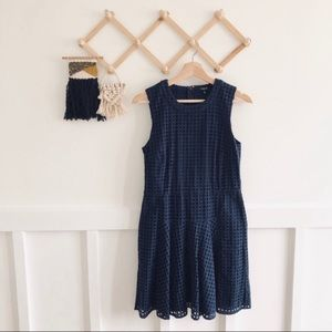 Madewell | Navy Blue Eyelet Fit and Flare Dress